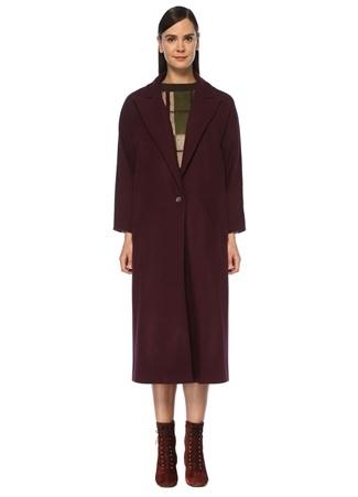 Beymen Club Kadın Mor Tek Düğmeli Klasik Yün Palto 38