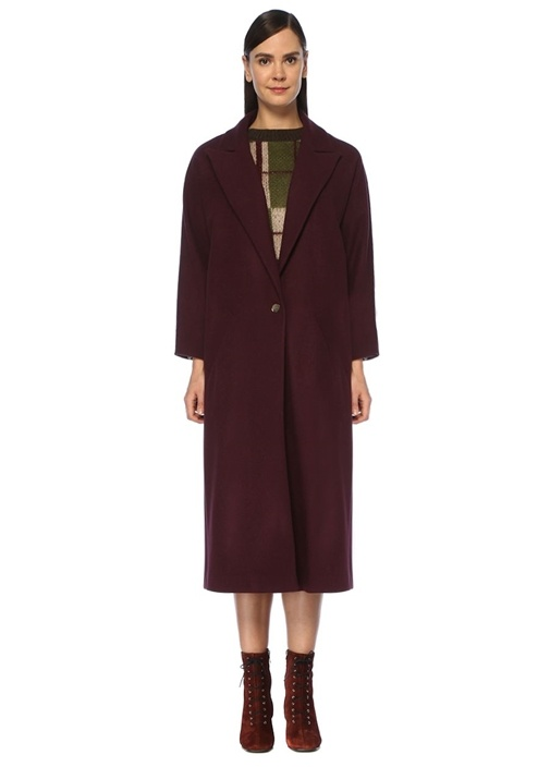 Mor Tek Düğmeli Klasik Yün Palto