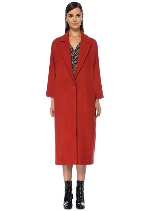 Kiremit Tek Düğmeli Klasik Yün Palto