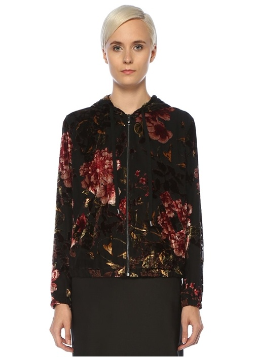 Siyah Kapüşonlu Çiçek Desenli Kadife Ceket
