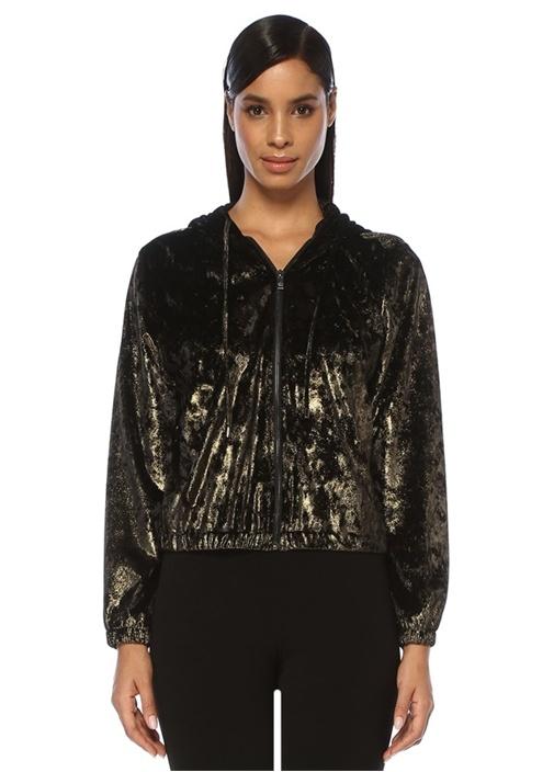 Gold Kapüşonlu Sweatshirt Formlu Kadife Ceket