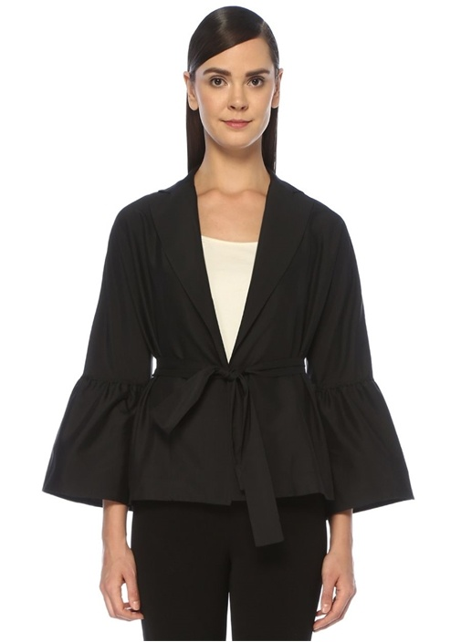 Siyah Beli Kuşaklı Çan Kol Kısa Ceket