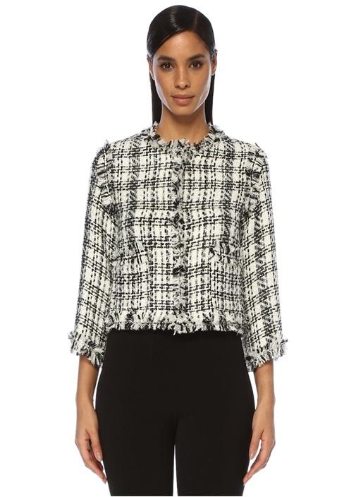 Siyah Beyaz Ekoseli Taş Şeritli Tweed Ceket