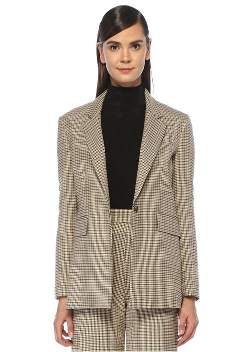 Bej Simli Kazayağı Desenli Blazer Ceket
