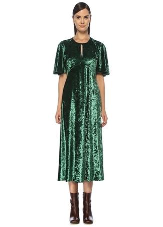 Beymen Club Kadın Yeşil Volan Kollu Midi Kadife Abiye Elbise 34 female
