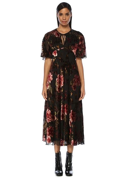 Siyah Yakası Bağcıklı Çiçekli Midi Kadife Elbise