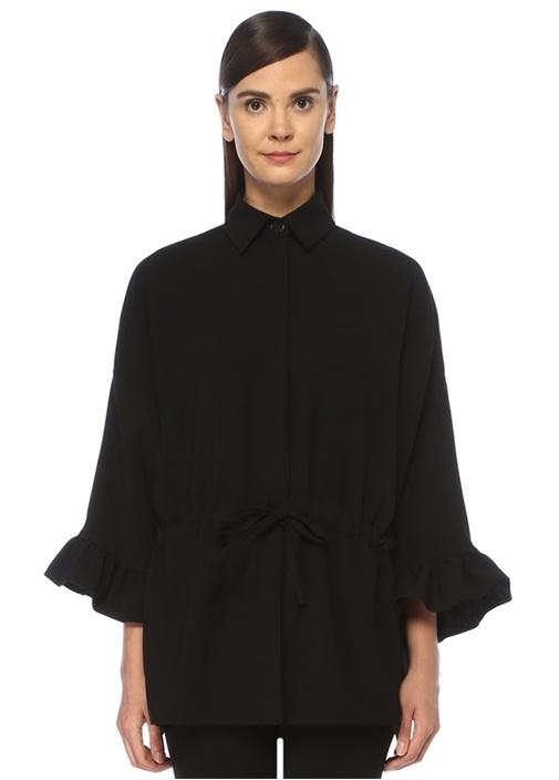 Siyah Kolu Volanlı Büzgülü Krep Gömlek Ceket