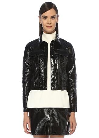 Beymen Club Kadın Siyah Rugan Görünümlü Crop Ceket 34