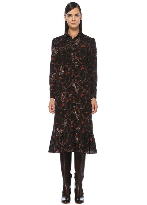 Siyah Zincir Desenli Midi İpek Gömlek Elbise