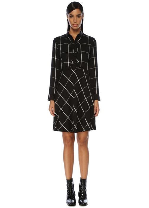 Siyah Beyaz Kareli Fırfırlı Mini Gömlek Elbise