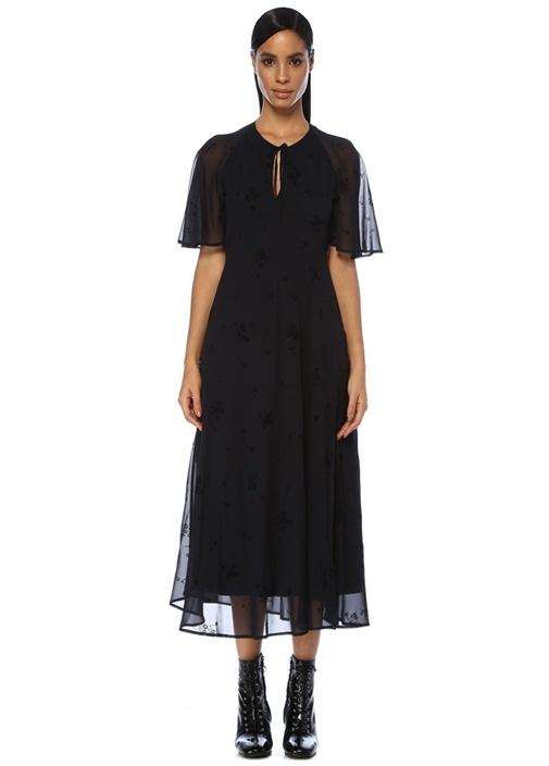 Lacivert Yakası Bağcıklı Çiçekli Midi Elbise