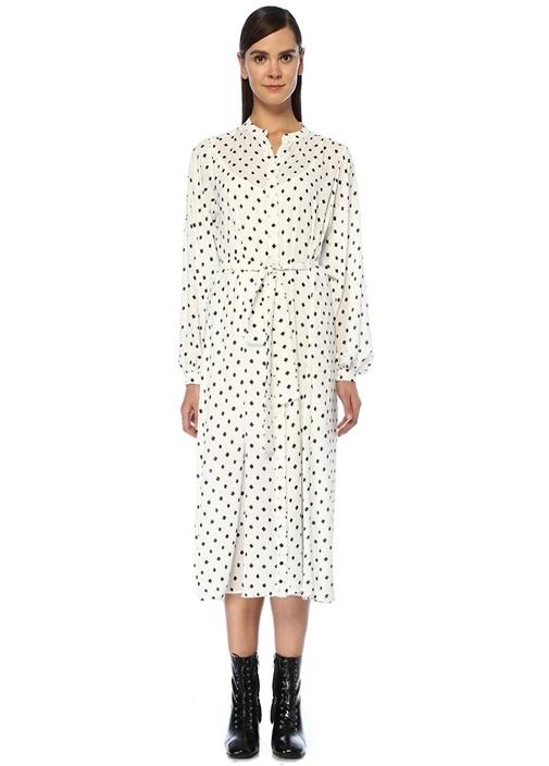 Beyaz Karo Desenli Beli Kuşaklı Midi Elbise
