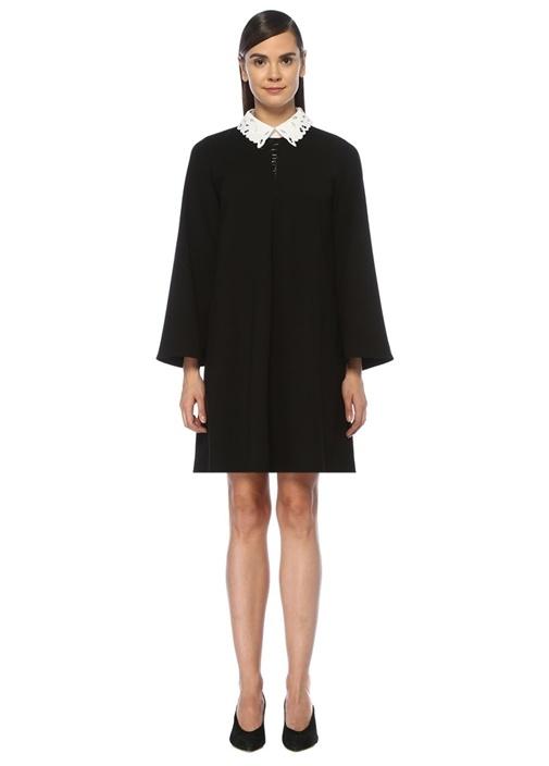 Siyah Beyaz Yaka Detaylı Mini Krep Elbise