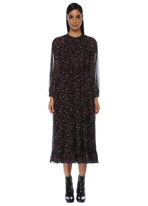 Siyah Desenli Uzun Kol Midi Şifon Bohem Elbise