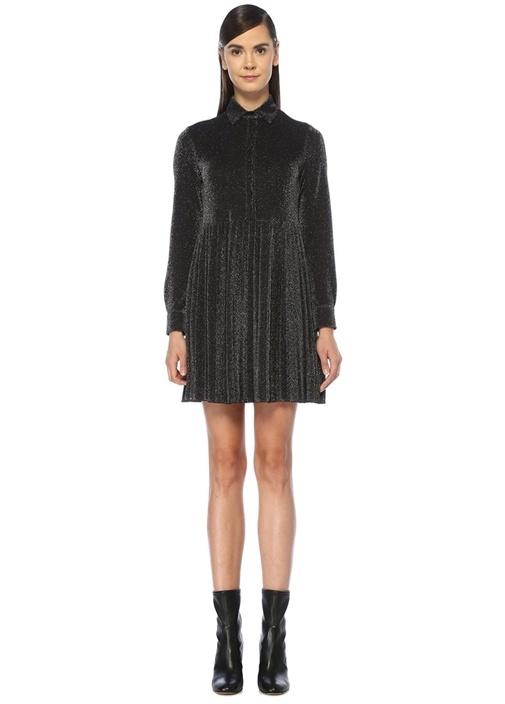 Siyah İngiliz Yaka Simli Pilili Mini Örme Elbise