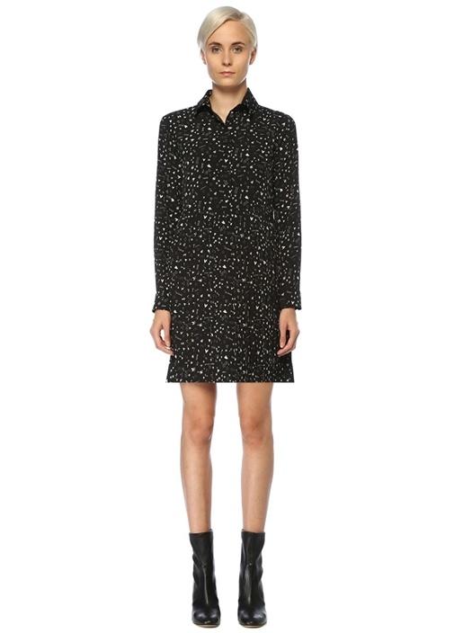 Siyah Desenli Pilili Mini Gömlek Elbise