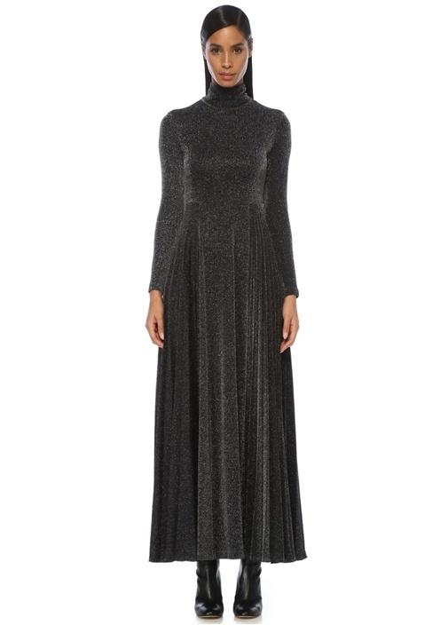 Siyah Parlak Dokulu Pilili Maxi Elbise