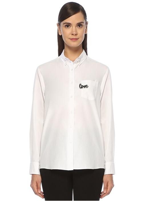 Slogan Nakışlı Yıkamalı Boyfriend Oxford Gömlek