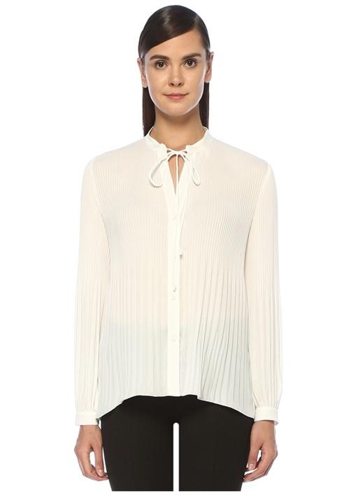 Beyaz Yakası Bağcıklı Pilili Şifon Gömlek