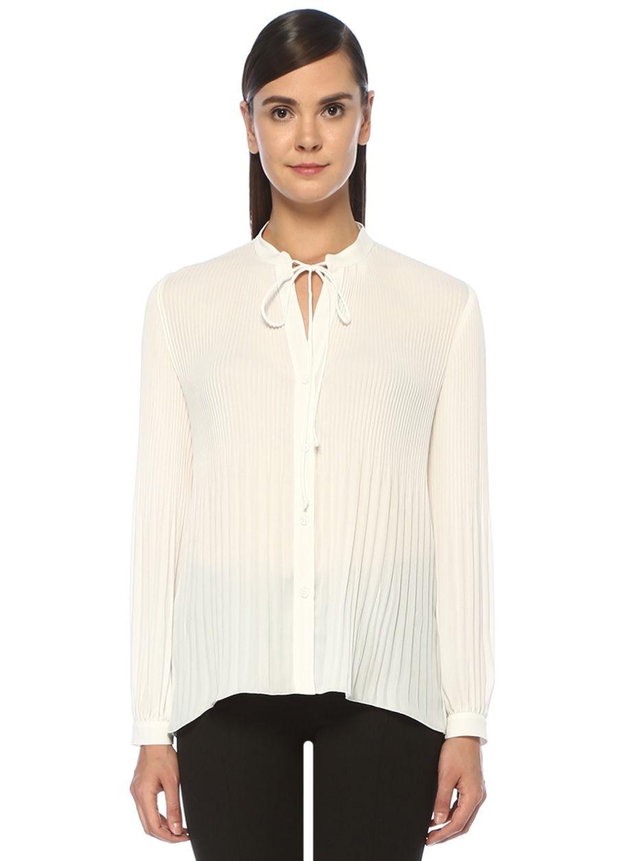 Beymen Club Beyaz Yakası Bağcıklı Pileli Şifon Gömlek