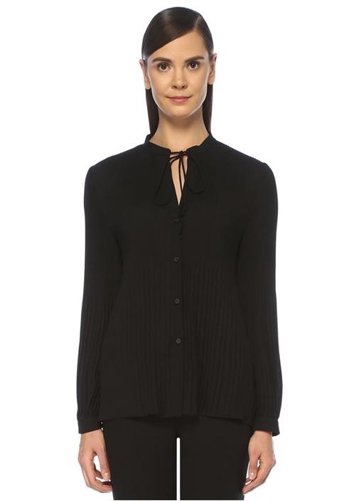 Siyah Yakası Bağcıklı Pilili Şifon Gömlek