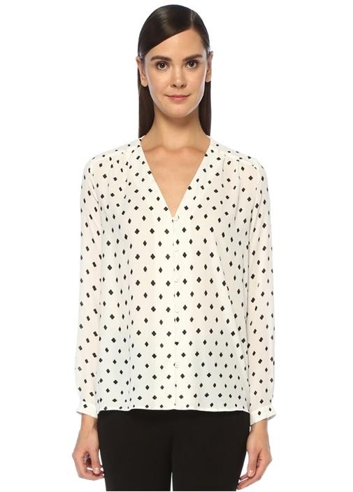 Siyah Beyaz V Yaka Karo Desenli Gömlek