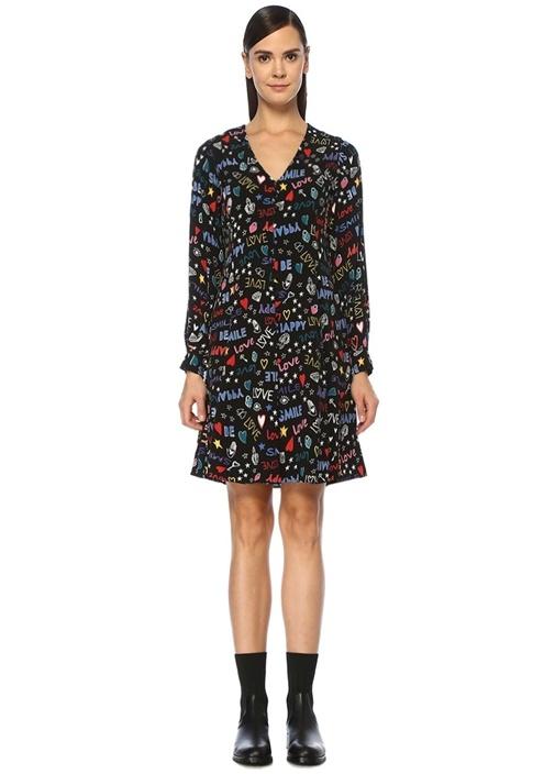 Siyah V Yaka Desenli Uzun Kol Mini Elbise
