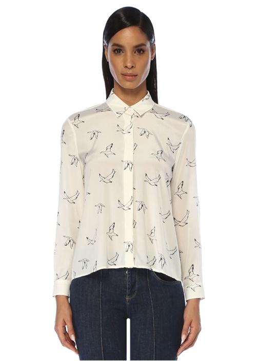 Beyaz Kuş Desenli Önü Kısa İpek Gömlek