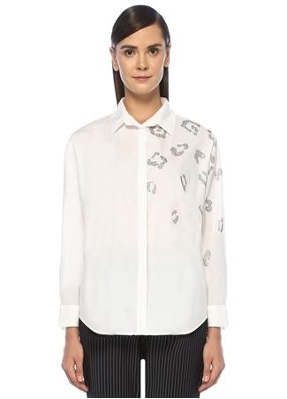 Beyaz Taşlı Leopar İşlemeli Gömlek