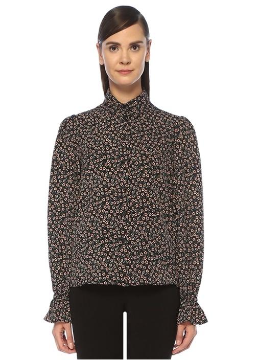 Siyah İngiliz Yaka Çiçek Desenli Gömlek