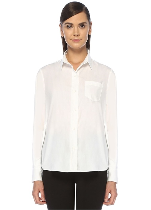 Beyaz Yanı Fermuar Detaylı Poplin Gömlek