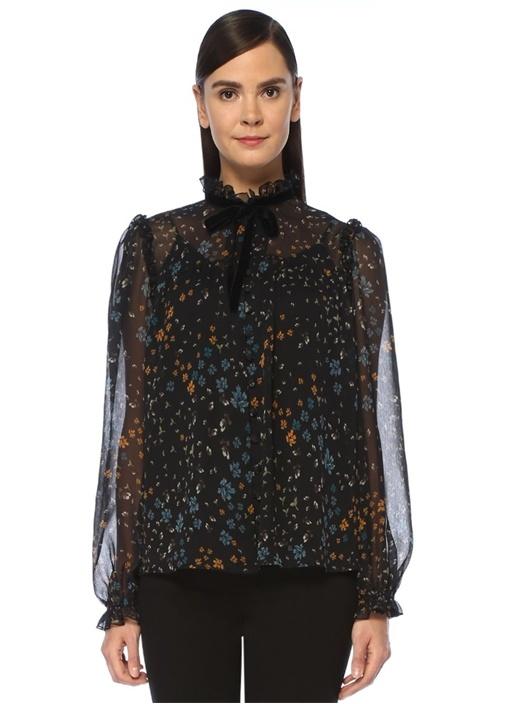 Siyah Yakası Bağlı Çiçekli Fırfırlı Şifon Gömlek
