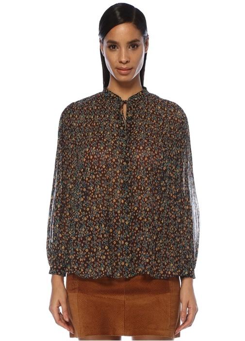 Mor Yakası Bağcıklı Çiçekli Pilili Şifon Gömlek