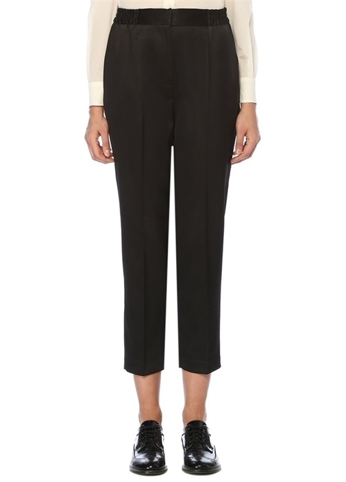 Siyah Beli Lastikli Pijama Formlu Saten Pantolon