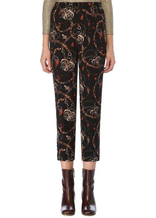 Siyah Beli Lastikli Zincir Desenli Pantolon