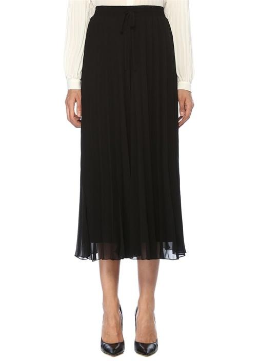 Siyah Pilili Etek Formlu Crop Şifon Pantolon