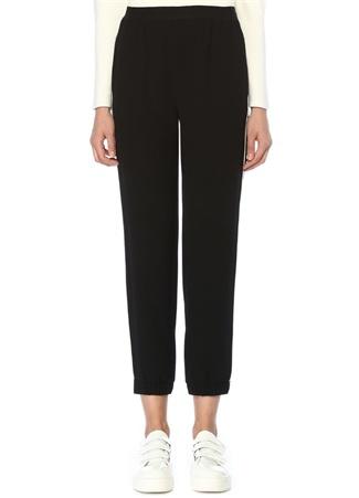 Siyah Beli Lastikli Kontrast Biyeli Krep Pantolon