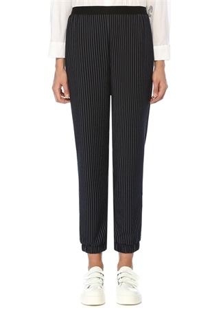 Lacivert Çizgili Yanı Sıra Taşlı Örme Pantolon