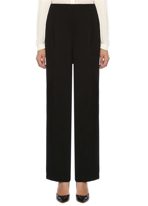 Siyah Yüksek Bel Pilili Bol Paça Krep Pantolon