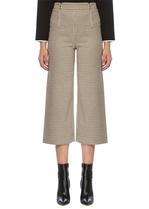 Bej Simli Kazayağı Desenli Çift Fermuarlı Pantolon
