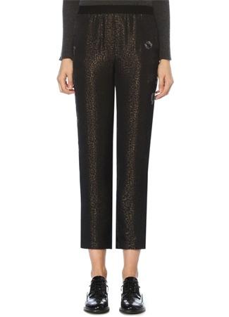 Lacivert Leopar Jakarlı Taşlı Pijama Pantolon