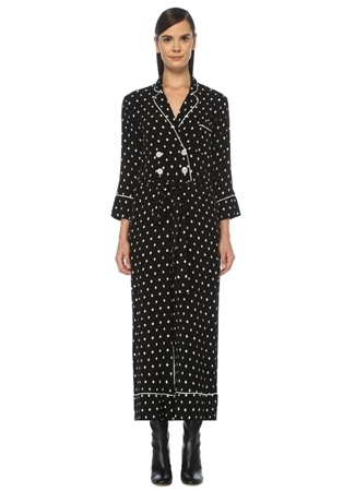 Beymen Club Kadın Siyah Karo Desenli Pijama Formlu Krep Tulum 42 female