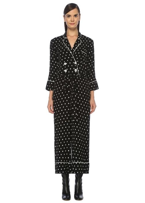 Siyah Karo Desenli Pijama Formlu Krep Tulum
