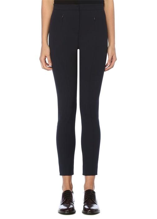 Lacivert Cepleri Fermuar Detaylı Skinny Pantolon