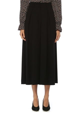 Kadın Siyah Pileli Bol Paça Krep Etek Pantolon 38
