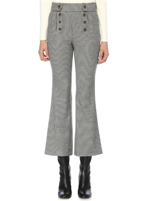Kazayağı Desenli Düğmeli Bol Paça Pantolon