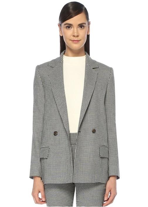 Siyah Beyaz Kazayağı Desenli Kruvaze Blazer Ceket
