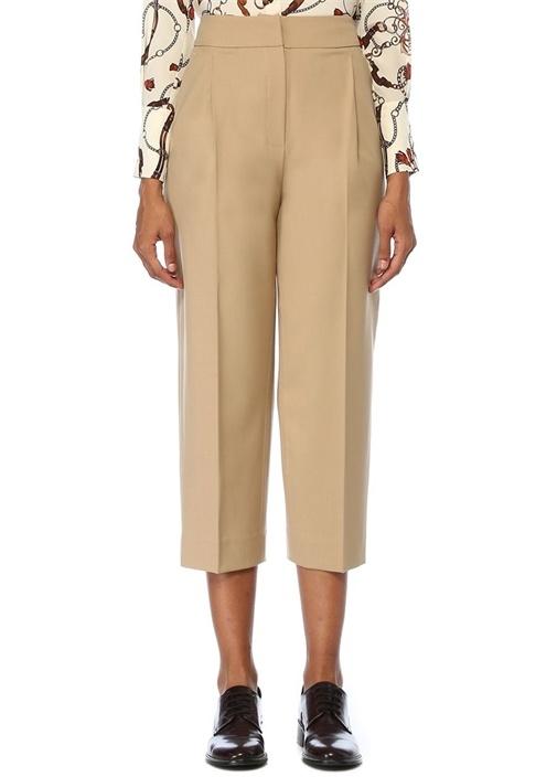 Bej Yüksek Bel Pilili Yün Pantolon
