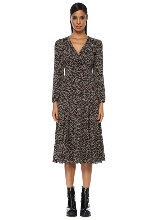 Siyah V Yaka Çiçekli Uzun Kol Midi Elbise