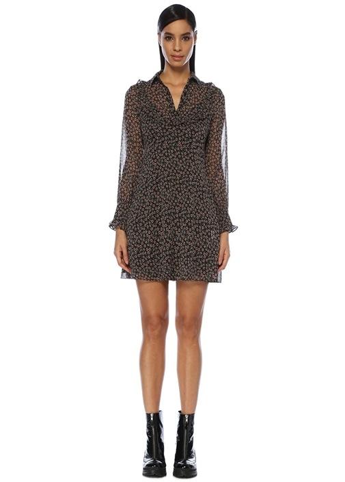 Siyah Çiçekli Fırfırlı Mini Şifon Elbise